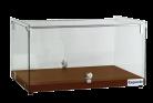 Exquisite CD35-W One Tier Flat Glass Ambient Cake Display - Elegant Walnut